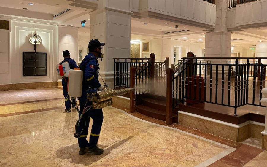 A worker disinfects Phnom Penh's Great Duke hotel ahead of a planned transfer of Covid-19 patients, in a photo posted to Hun Manet's Facebook page.