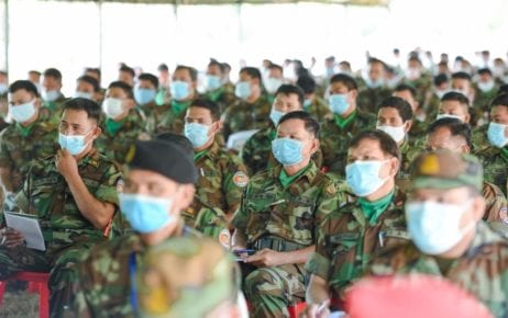 Soldiers gathered for a presentation in Kampong Chhnang province on March 10, 2021. (Hun Manet Facebook Page)