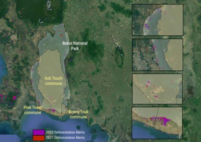 A map depicting the three communes of the new Bokor City established on March 16, 2021, Bokor National Park, and areas of deforestation detected by satellite in 2020 and 2021. (Danielle Keeton-Olsen/VOD)