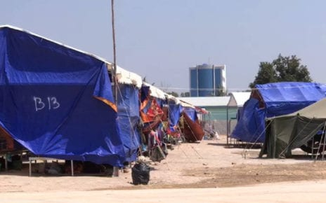 Quarantine tents set up near the Thai border in Battambang province, in a photo supplied by the provincial administration.