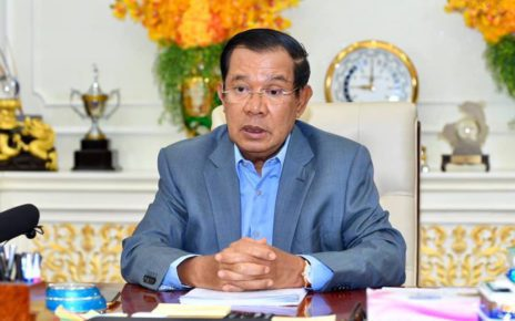 Prime Minister Hun Sen makes a three-hour speech about Covid-19 on April 10, 2021, in a photo posted to his Facebook page.