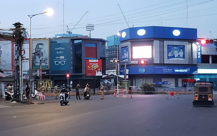A road closure during the Covid-19 lockdown near Phnom Penh's Olympic Market on April 15, 2021. (Danielle Keeton-Olsen/VOD)