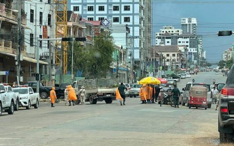 A roadblock in Sihanoukville, in a photo posted to the Facebook page of the Preah Sihanouk provincial administration.
