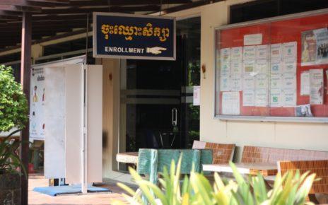 Covid-19 precautions outside Phnom Penh's Build Bright University on April 2, 2021. (Michael Dickison/VOD)