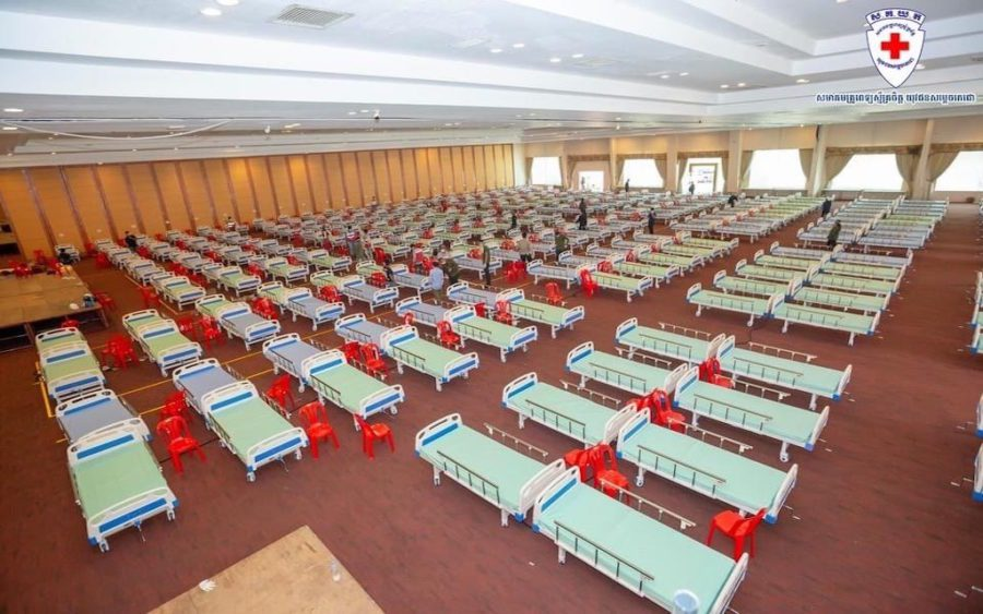 A photo posted to the Techo Youth Doctor Association Facebook page shows hundreds of beds set up at the Koh Pich Convention Center for Covid-19 patients with mild symptoms.