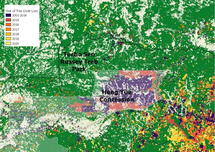 A map depicting forest loss between 2001 and 2020 and concessions within Techo Sen Russey Treb park in northern Cambodia, using satellite data from Global Forest Watch. (Danielle Keeton-Olsen/VOD)
