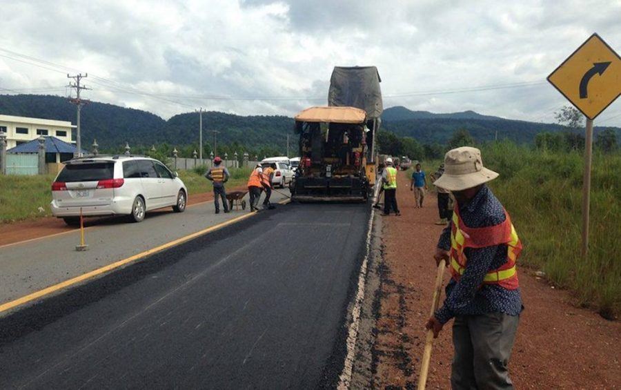 Road maintenance workers carry out repairs on National Road 4 in Preah Sihanouk province's Kampong Seila district in October 2016, in this photo posted to the Ministry of Public Works and Transport's Facebook page.