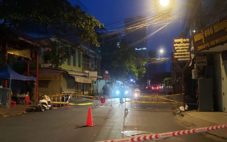 "A barrier blocking a street into the Toul Svay Prey I ""orange zone"" in Phnom Penh on May 1, 2021. (Danielle Keeton-Olsen/VOD)"
