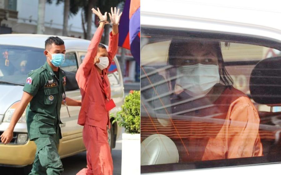 Thun Ratha and Phuon Keoreaksmey outside the Phnom Penh Municipal Court on May 5, 2021. (Sok Chantravuth/VOD)