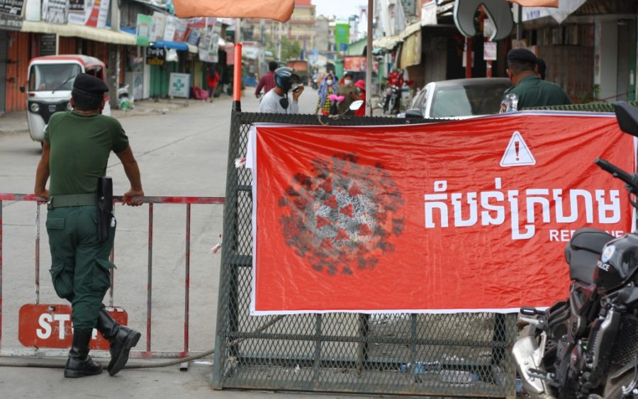 Red-zone barricades along Phnom Penh's Veng Sreng Blvd. on May 10, 2021. (Michael Dickison/VOD)