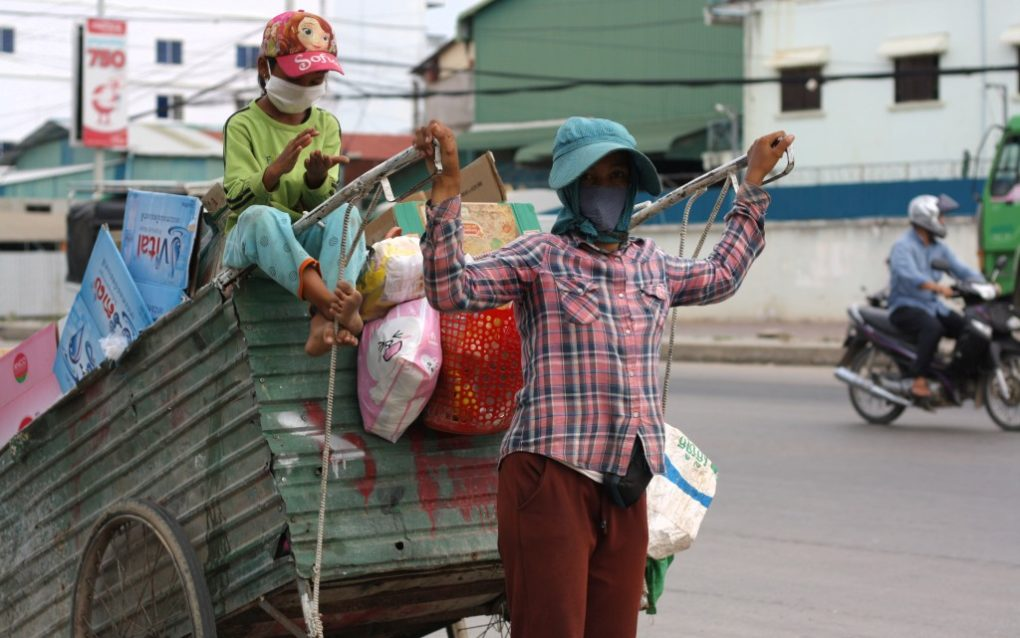 Da Sreyleath, 30, on her first day as a recycler in Phnom Penh's Meanchey district on May 10, 2021. (Michael Dickison/VOD)