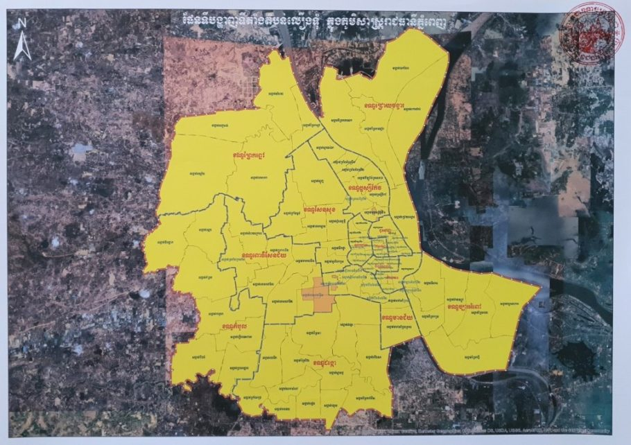 A map of Phnom Penh's Covid-19 orange and yellow zones, released on May 19, 2021 by Phnom Penh City Hall.