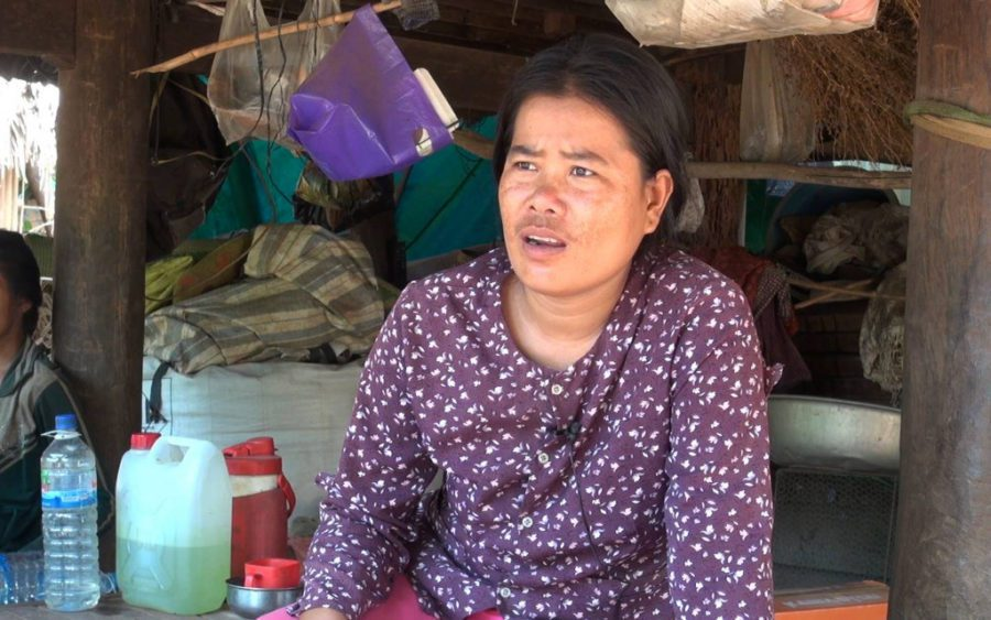 Srey Seath, wife of jailed CNRP activist Su Yean, speaks about her husband's arrest, in Tbong Khmum province's Memot district on May 20, 2021. (Chorn Chanren/VOD)