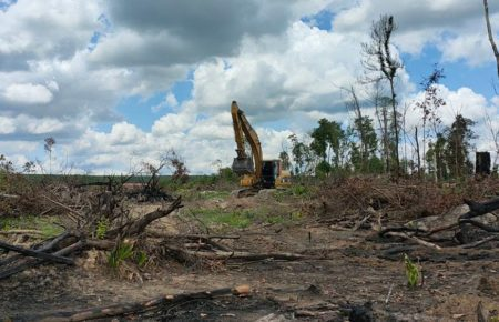 An excavator clears land in Preah Vihear's Rovieng district, Romany commune on May 23, 2021, in an area of significance to indigenous Kuy communities and ancient Angkorian ironworks. (Supplied)