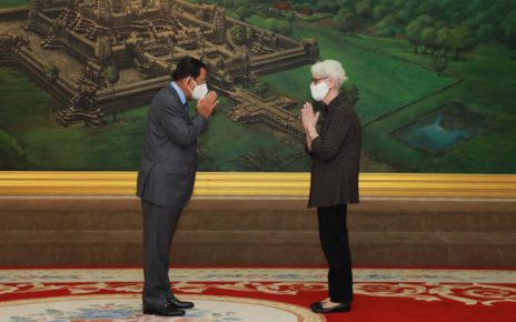 Prime Minister Hun Sen and US deputy secretary of state Wendy Sherman meet at Phnom Penh's Peace Palace on June 1, 2021, in a photo posted to Hun Sen's Facebook page.
