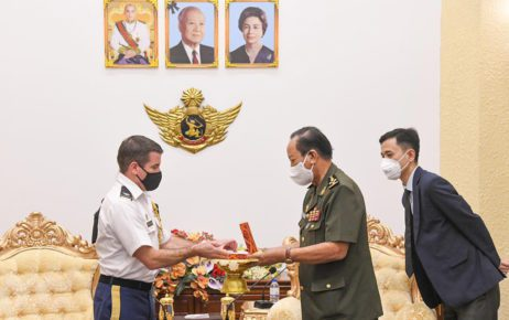 Defense Minister Tea Banh presents a gift to U.S. defense attache Marcus Ferrara during his visit in a photo posted to Banh's Facebook page on June 8, 2021.