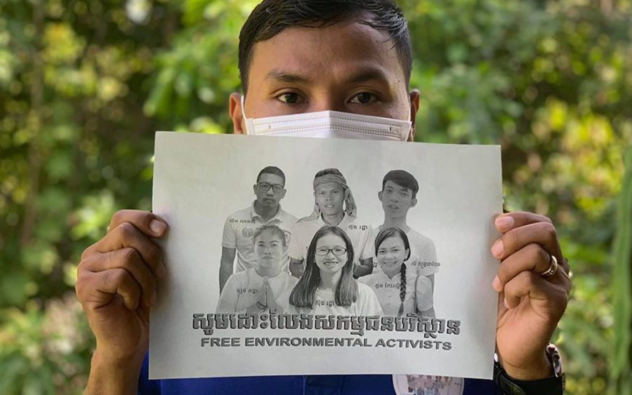 An NGO staffer posts a photo in support of arrested Mother Nature environmentalists, on the Facebook page of the Cambodian Youth Network.