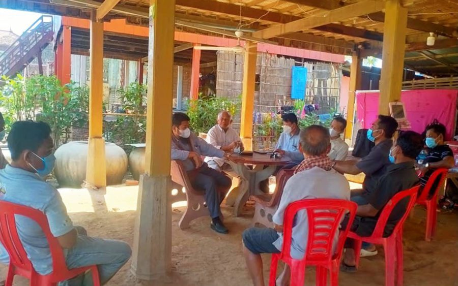Ou Chanrath, center, speaks at a meeting of the Cambodia Reform Party in Takeo province, in a photo posted to the party's Facebook page on June 20, 2021.