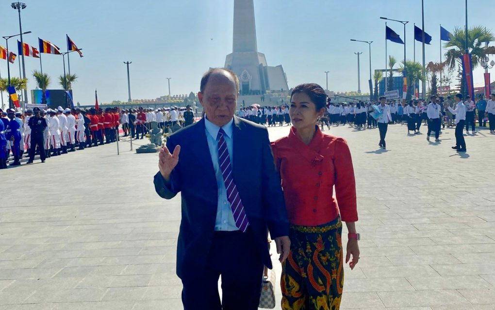Mam Sonando outside Phnom Penh's Win-Win Monument, in a photo posted to his Facebook page in December 2019.