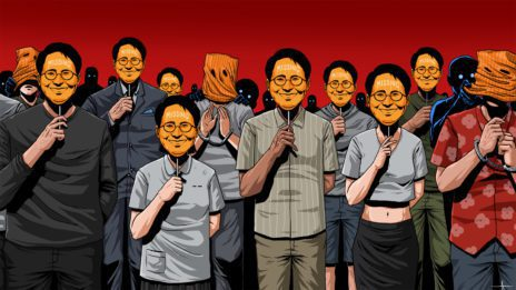 illustration of people holding Wanchalearm masks over their faces
