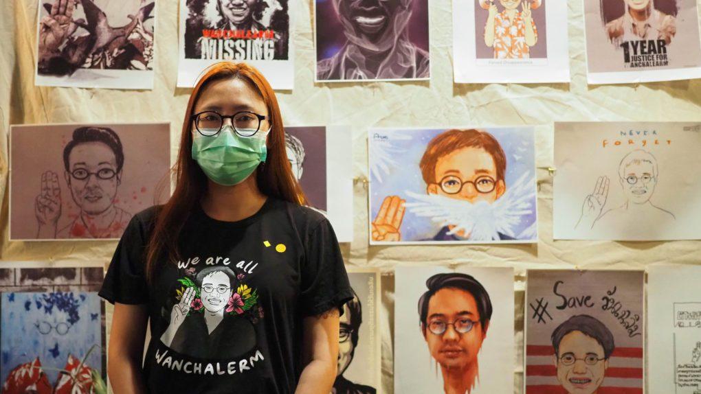 Prakaidao Pruksakasemsuk, Wanchalearm's former partner, at a memorial event in Bangkok on June 2, 2021. (Anna Lawattanatrakul/Prachatai)
