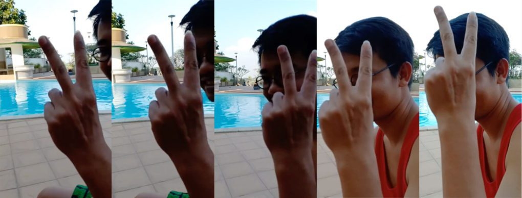 Wanchalearm Satsaksit at the Mekong Gardens poolside in Phnom Penh, in compiled images from a video recorded by his friend in February 2020.