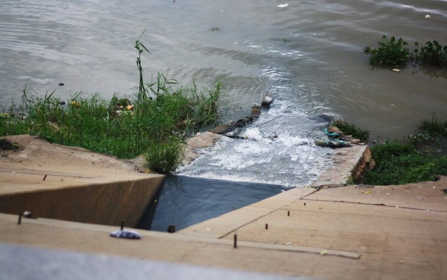 A rights group said three Mother Nature activists were documenting sewage flowing into the Tonle Sap, similar to this drain photographed at Phnom Penh's Riverside on June 17, 2021.