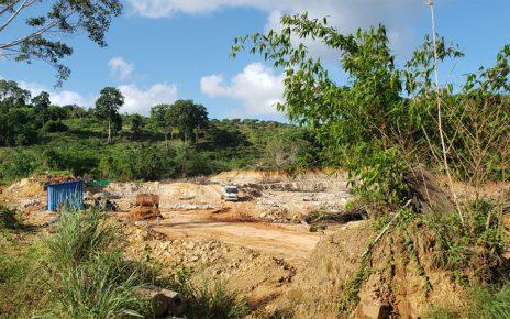 A dump truck travels across a construction site in Koh Kong province's Peam Krasop Wildlife Sanctuary on June 27, 2021. (Danielle Keeton-Olsen/VOD)