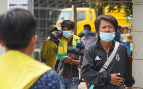 Cintri workers gather at the company's Dangkao district garage in Phnom Penh on July 6, 2021. (Tran Techseng/VOD)