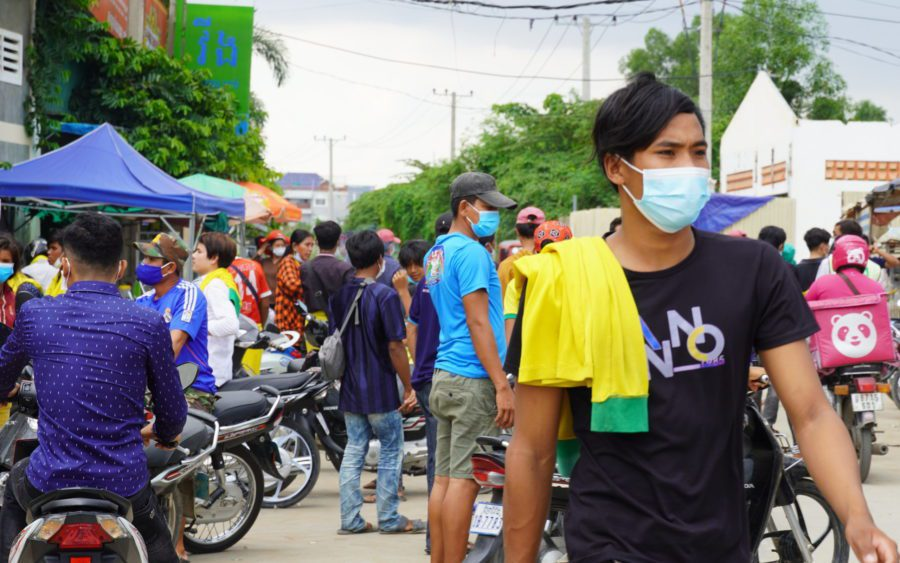 Laid-off Cintri workers at the company's Dangkao district garage on July 6, 2021. (Tran Techseng/VOD)
