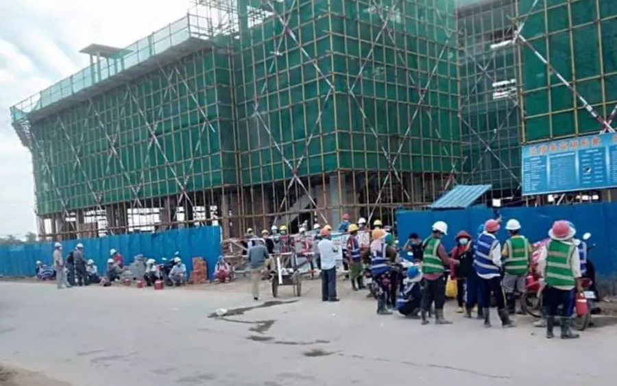 Workers protest at the Hui W Travel Agent construction site in Phnom Penh's Pur Senchey district on July 20, 2021. (Supplied)
