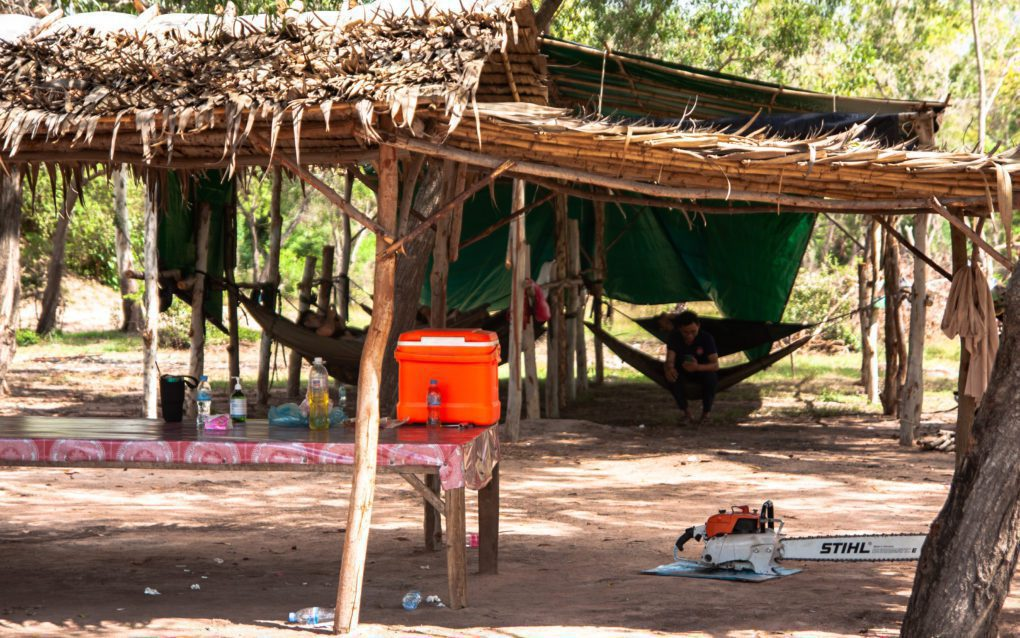 A military outpost on disputed land in Kandal province's Ang Snuol district. (Gerald Flynn/VOD)