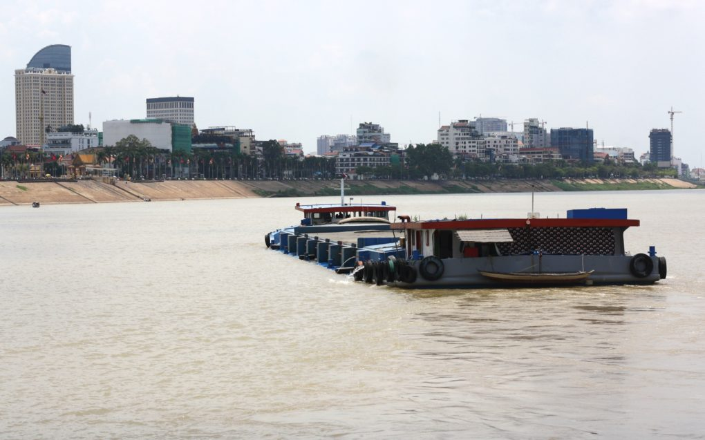 A sand barge in Phnom Penh on July 12, 2021. (Michael Dickison/VOD)