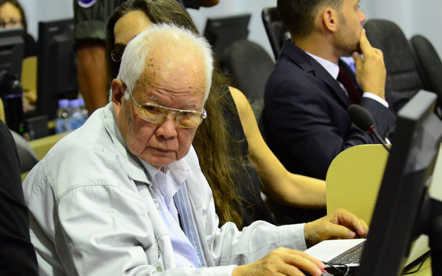 Khmer Rouge head-of-state Khieu Samphan in the closing statements of Case 002/02 on June 13, 2017, in a photo supplied by the Khmer Rouge Tribunal.