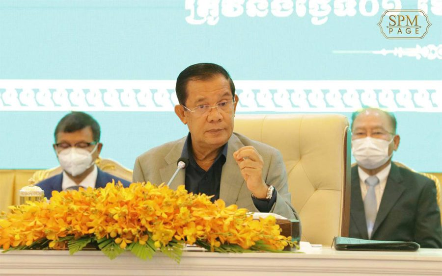 Prime Minister Hun Sen speaks for more than four hours during the launch of children's vaccination campaign, in a photo posted to the premier's Facebook page on August 1, 2021.