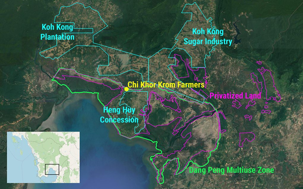 A map covering Koh Kong province's Sre Ambel and Botum Sakor districts, showing the Dang Peng Multiuse Zone as well as the three sugar concessions and newly privatized areas both within and outside the protected area. At the center, residents from Chi Khor Krom commune say they've been stopped from farming. (Danielle Keeton-Olsen/VOD)