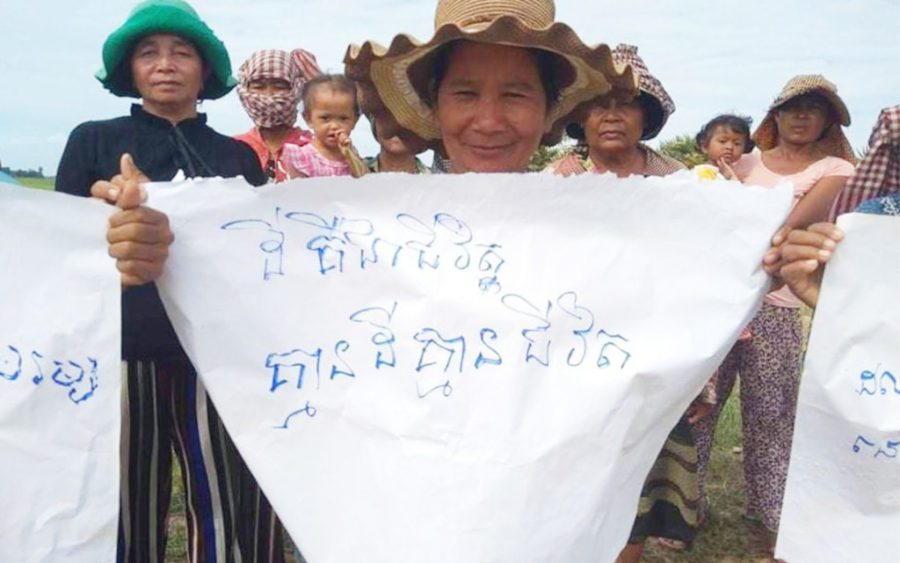 Svay Rieng residents protest over compensation for their land on August 2, 2021. (Supplied)