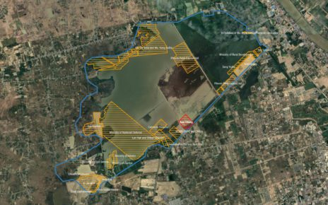 Land granted by the government on Phnom Penh's Boeng Tamok lake. Sources: Sub-decrees, Sahmakum Teang Tnaut, Google Maps.