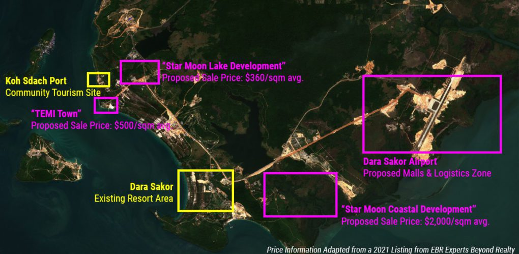 A map showing existing developments, including the Dara Sakor resort and Koh Sdach port, as well proposed developments, on the southern coast of Union Development Group's concession in Koh Kong province. (Danielle Keeton-Olsen/VOD)