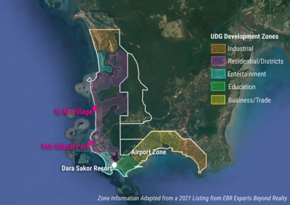 A map showing proposed zones within Union Development Group's 36,000-hectare concession, including entertainment, residential and business/industrial areas, in Koh Kong province. (Danielle Keeton-Olsen/VOD)
