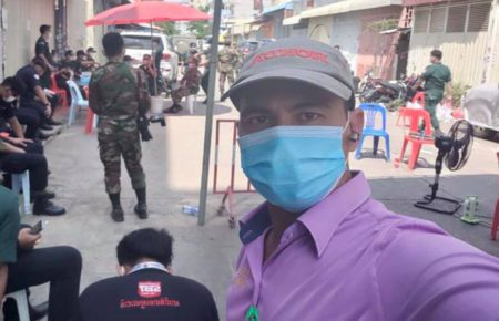 CHR TV Online journalist Sous Chamroeun takes a selfie during coverage of the Covid-19 pandemic in a photo posted to CHR TV Online's Facebook page.