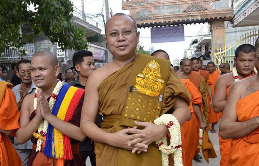 Pang Soda, chief monk in Kampong Cham province's Vongkot Borey Phnom Penh pagoda, in 2015, in a photo posted by the Friendship of Khmer Kampuchea Krom Association's Facebook page.