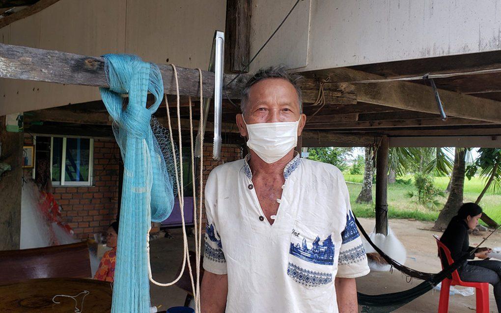 Kem Khan, 73, chief of the O'Krasar fishing community, in Kep's O'Krasar commune on August 25, 2021. (Danielle Keeton-Olsen/VOD)