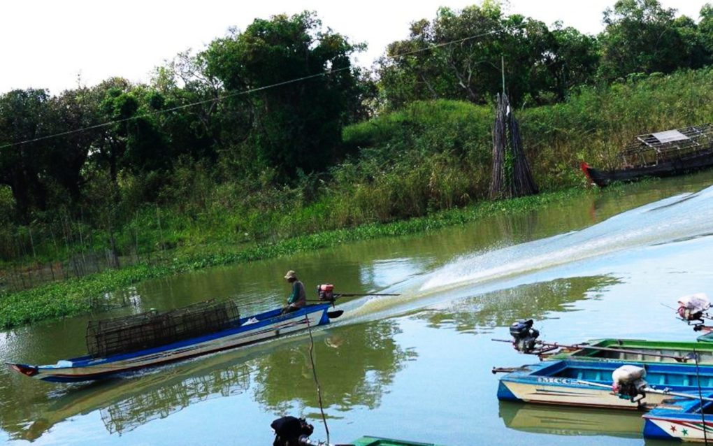 A fishing boat in Siem Reap province in June 2021. (Mech Choulay/VOD)