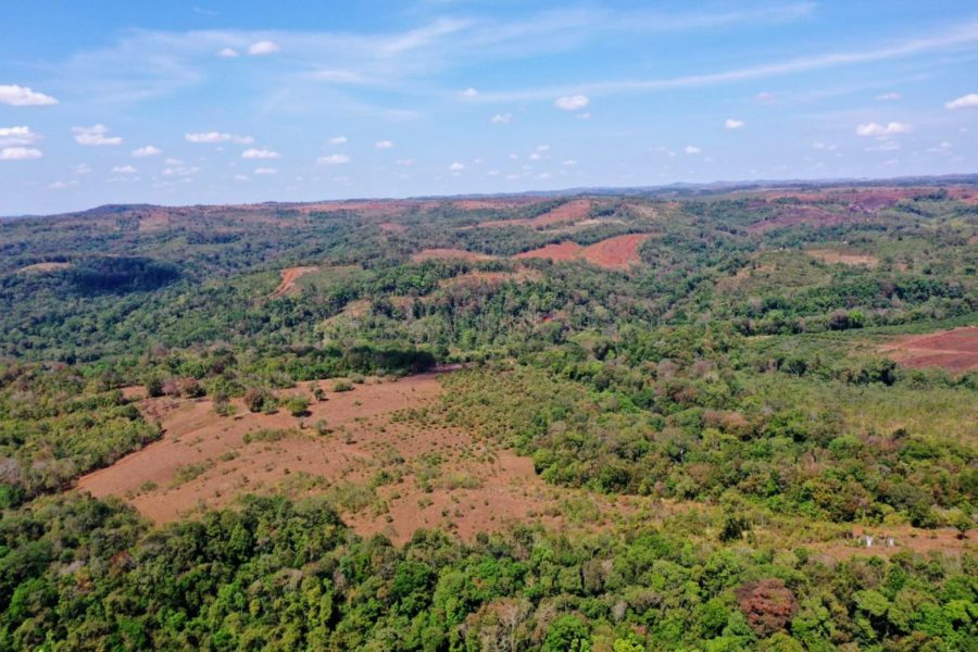 Barren patches of land pepper O'Reang district's landscape as a result of deforestation. (Heng Vichet/VOD)