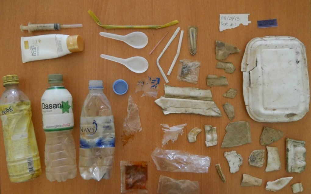 Larger pieces of plastic collected and sorted by researchers. (Supplied)