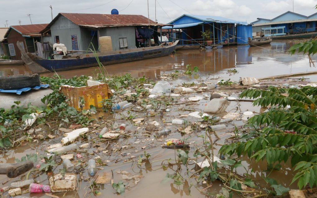 Plastic seen by researchers at a floating village in 2019. (Supplied)