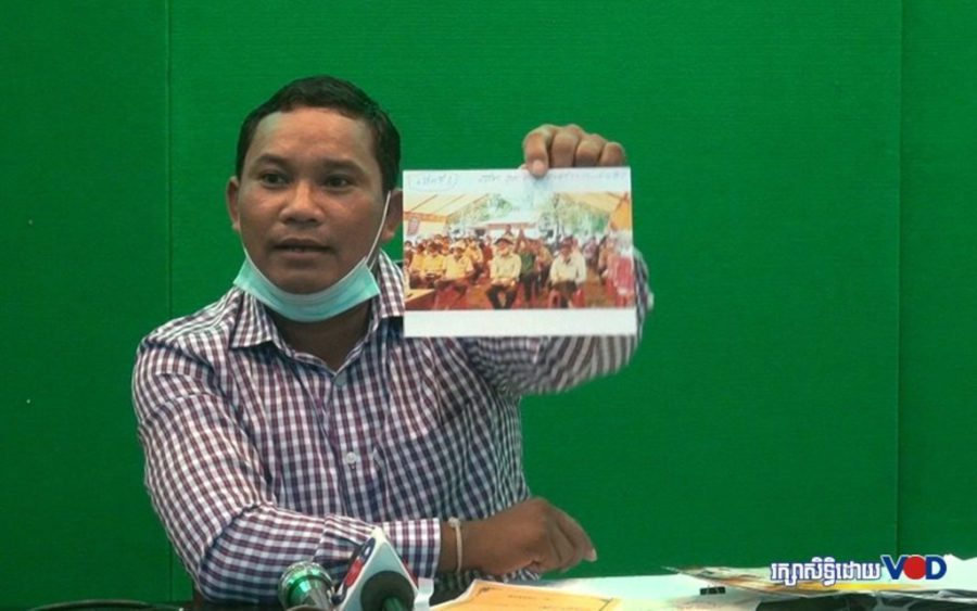 Environmental activist Chhorn Phalla speaks at a press conference in 2020. (Chorn Chanren/VOD)