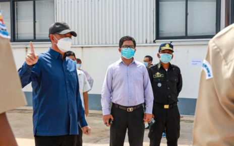Preah Sihanouk provincial governor Kouch Chamroeun visits a special economic zone on June 1, 2021, in a photo posted to the Facebook page of the provincial administration.
