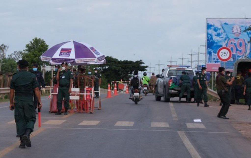 Banteay Meanchey police conduct traffic checks in a photo posted to the force's Facebook page in July.